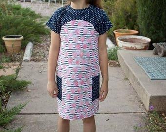 Tulipa Dolman 12-8 PDF sewing pattern, girls knit sewing pattern, knit top pattern, girls tunic sewing pattern, girls knit dress pattern