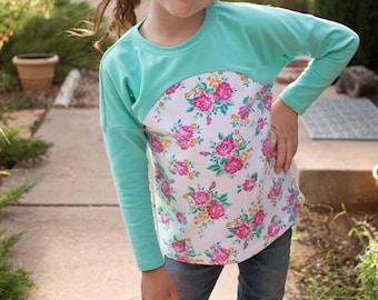 Tulipa Dolman PDF pattern 6-16 girls knit top tunic dress pattern