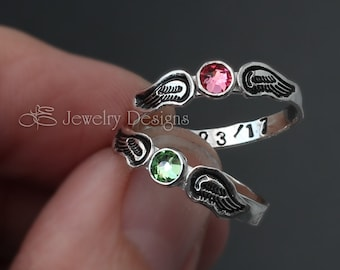 ANGEL WINGS RING - angel baby ring, angel babies, in memoriam, loss of loved one. angel ring, angel birthstone ring, hand stamped angel