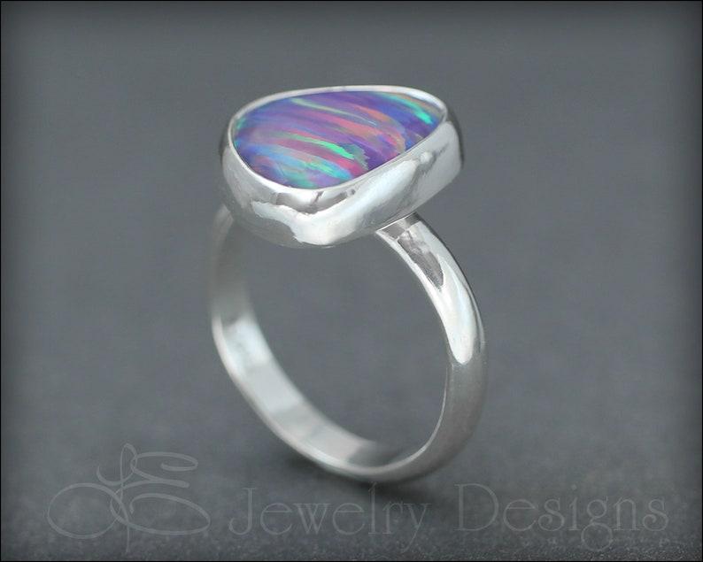 yellow opal silver opal ring OPAL RING opal statement ring opal aura stripes purple opal unique opal
