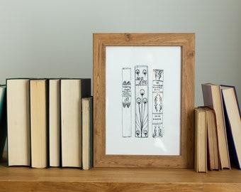 Custom bookshelf portrait line drawing Illustration, monochrome book lover literary or first anniversary gift