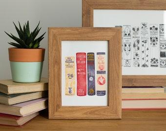 Custom bookshelf portrait watercolour Illustration, book lover literary or first anniversary gift