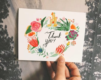 Succulent desert floral thank you blank card