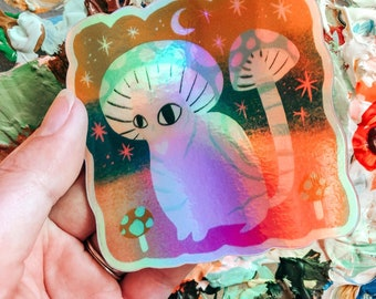 Holographic meowshroom cat high quality vinyl sticker