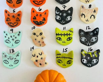 the halloween cat polymer clay brooches