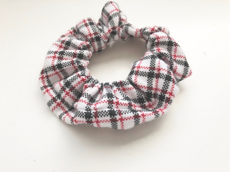 Plaid Flannel Hair Scrunchie Plaid Hair Tie Hair Elastic image 0
