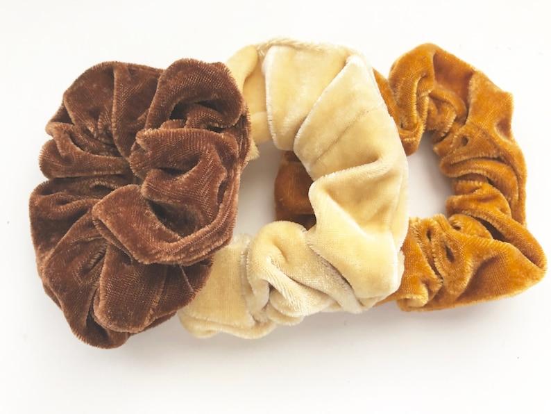 Velvet Hair Scrunchie Fall Colors Velvet Hair Tie Hair image 0