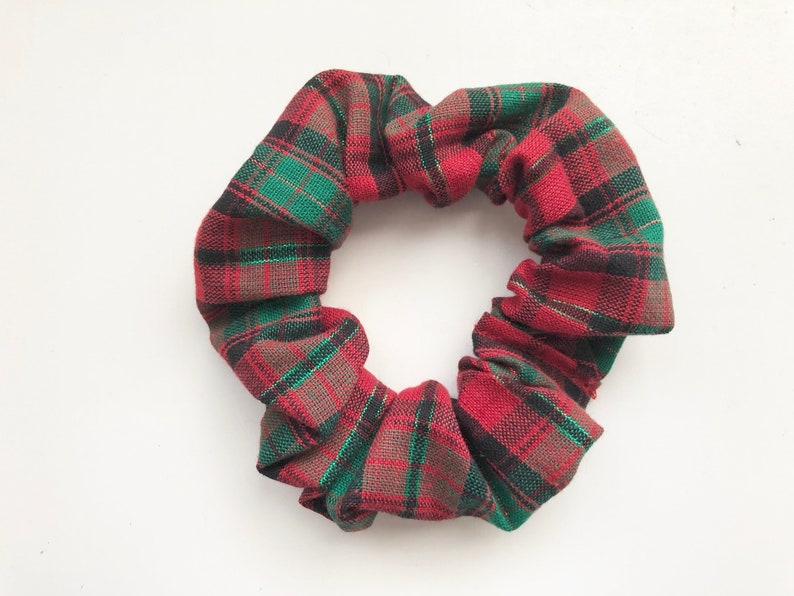 Christmas Plaid Scrunchie Plaid Hair Tie Hair Elastic image 0