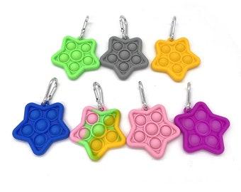 Mini Fidget Popper Keychain, Fidget Popper Toy, Sensory Toy, Star Fidget Popper, Dimple Popper Toy