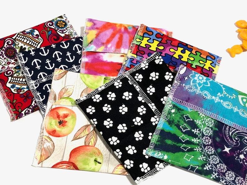 Grab Bag of 5 Reusable Snack Bag Snack Bag Reusable Food image 0