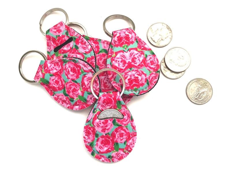 Roses Quarter Holder-Quarter Keeper-Quarter Keychain Floral image 0