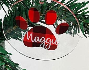 Dog Name Ornament, Paw Print Ornamnet, Dog Paw Ornament, Personalized Dog Ornmament, Christmas Dog Ornamnet
