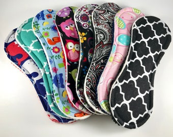 """Wingless Cloth Panty Liners Mystery Pack 7.5"""" Set of 3,  Zero Waste Panty Liners, Reusable Panty Liners"""