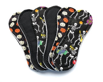 """Wingless Cloth Panty Liners, Halloween Wingless Liners,  7.5"""" Wingless Liners, Set of 6, Zero Waste Panty Liners, Reusable Panty Liners"""