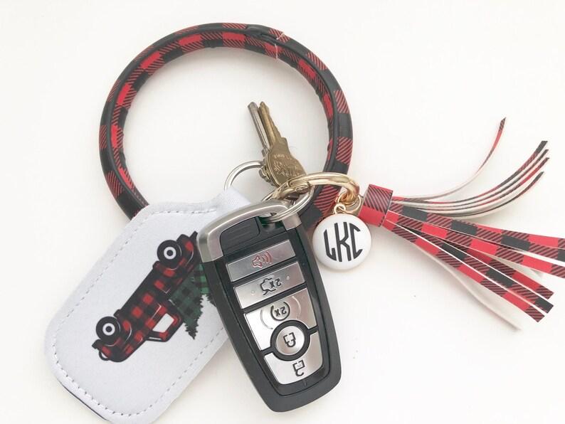 Plaid Wristlet Keyring Tassel Wristlet Keychain Keychain image 0