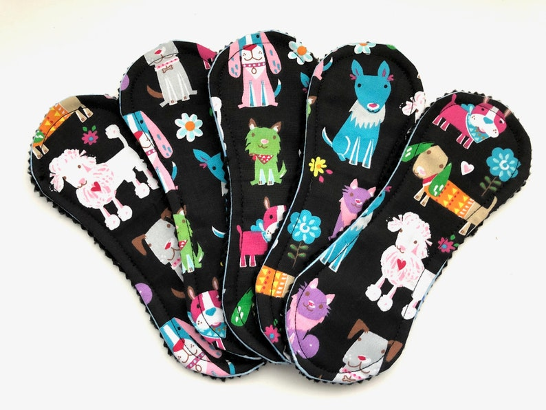 Dogs Wingless Cloth Panty Liners 7.5 Set of 5 Reusable image 0