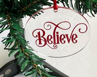 Christmas Ornament, Acrylic Circle Ornament, Christmas Tree Ornament, Round Christmas Ornament, Holiday Ornament