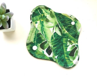 """Tropical Leaves Cloth Panty Liner 8"""" Reusable Cloth Panty Liner, Washable Cloth Panty Liner"""