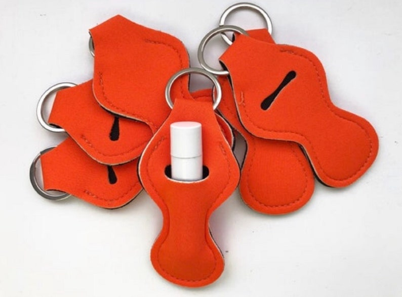 Orange Chapstick Holders Chapstick Keychain Personalized image 0