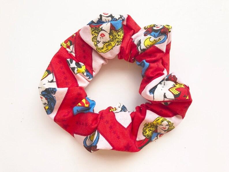 Super Girl Hair Scrunchie Wonder Woman Hair Tie Hair image 0