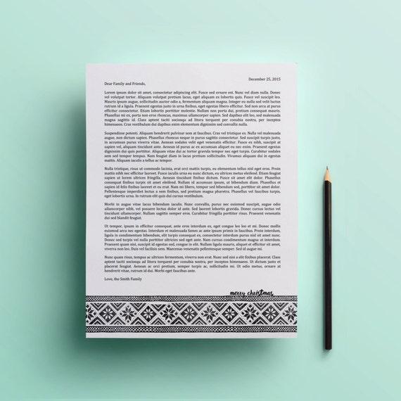 Druckbare Weihnachten Briefvorlage Docx Downloadbare Etsy