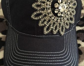 e9617095bbda75 Womens baseball hat, navy blue, Rhinestone baseball cap, distressed baseball  hat, bling baseball hat, womens trucker hats, trucker hat