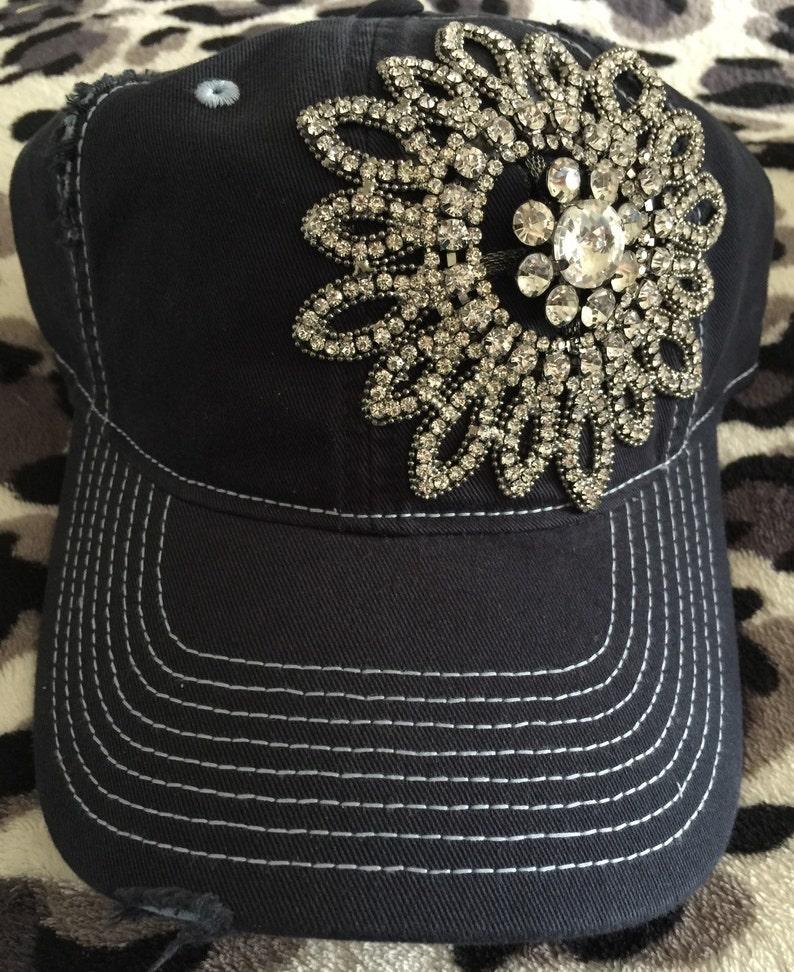 b8c8dde491a4b1 Womens baseball hat navy blue Rhinestone baseball cap | Etsy