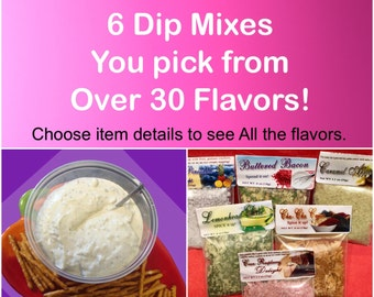 6  dry dip mixes hand blended On Sale , Party dip mixes, seasoning mix, neighbor gift, care package gift, gift father's day gift, spices