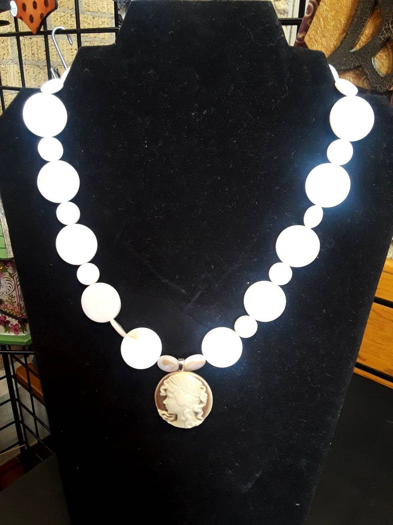Cameo necklace  Mother of Pearl  pearl necklace handmade image 0