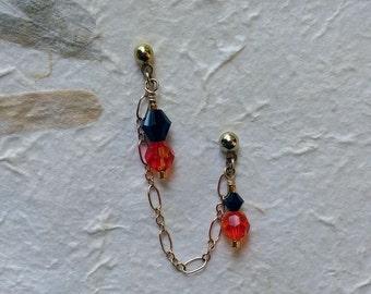 ear earrings, stud earrings, cartilage stud, gold earrings, gold cartilage, chain ear, cartilage chain earrings, cartilage piercing, two, 2