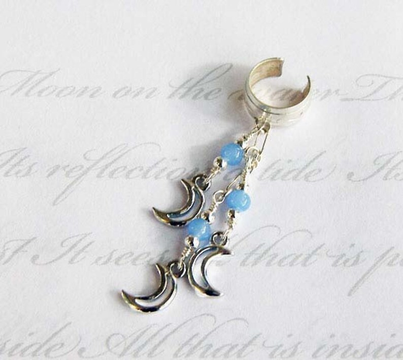Crescent Moon Sterling Silver ear cuff and chain ear wrap with image 0