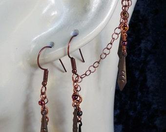 jewelry, earrings, ear cuff, dangle earring, dangle earrings, copper earrings, copper jewelry, dangle & drop earrings, dangling earring