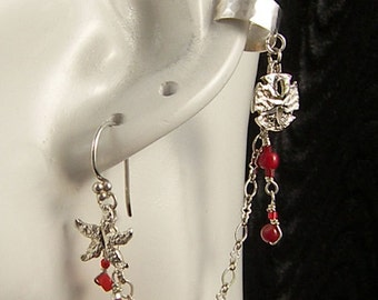 Seashells & Coral Earcuff Sterling Silver and Red Coral