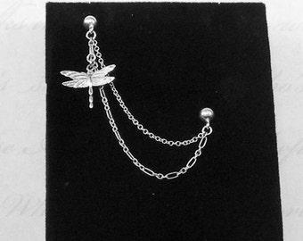 Cartilage Earring, Dangle Earrings, Ear Earrings, Stud, Cartilage Stud, Silver, Chain Ear, Earrings Up, Dragonfly, Cartilage Piercing