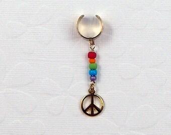 Rainbow Peace Sign Ear cuff hippie pagan boho gay pride