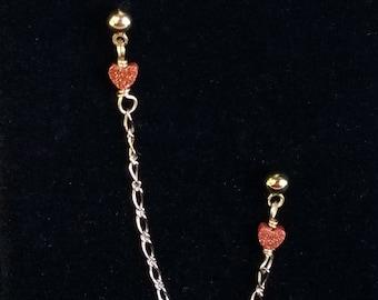 Heart Earrings, Hearts, Double Piercing earring, double piercing earrings, double pierced earrings, double ear piercing
