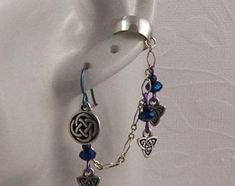 ear cuffs, earrings, mens earrings, ear cuff jewelry, ear wraps, ear cuff earrings, earrings for women, cuff earrings,celtic,niobium,purple