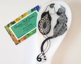 Fused Glass Spoon Rest - Cats Entwined