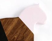 Wood Dala Horse Pink + Black Wall Decor, Swedish Horse, animal silhouette, minimal, scandinavian wall art, gift, nursury, eclectic, boho