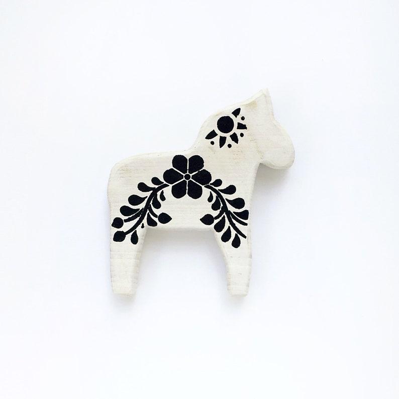 Mini Wooden Dala Horse black floral Swedish Horse image 0