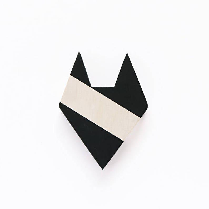 MINI Fox Wall Decor Black White Wooden Animal Silhouette image 0