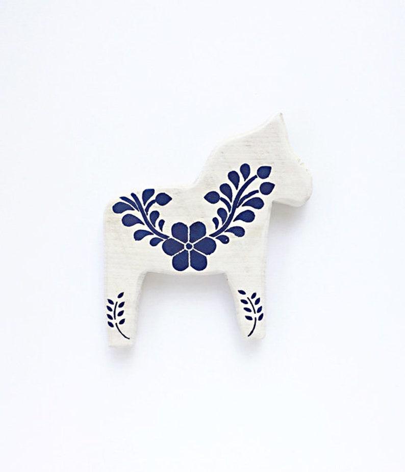 Mini Wooden Dala Horse Blue floral Swedish Horse Silhouette image 0