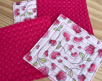 Primitive Quilted Coasters, Hearts and Roses for Valentine's Day, Set of 4, Reversible