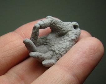 Custom DIY stoneware charm, 'Plucking Hand' Mudra