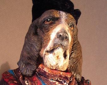 Bassett Hound Anthro Art Doll: Sylvia,  the Beat Poet
