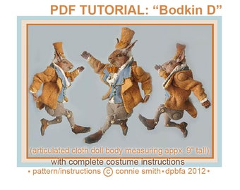 INSTANT DOWNLOAD PDF Pattern D and Instructions for Jointed Cloth Doll Body and Costume