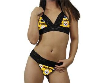 97b84efaf78 Pittsburgh Steelers NFL Lingerie Black Lace Cami Tie-Top