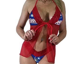 New York Giants Sexy Red Lace Babydoll St w/G-String Thong Panties - PLEASE Read Sizing Info - XS Extra Small to L Large - Made to Order