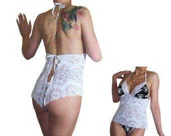 Oakland Raiders Sexy White Lace Babydoll Set, Matching Panties, Tuxedo Hem, Ties in Back - PLS READ Sizing Info - Made to Order