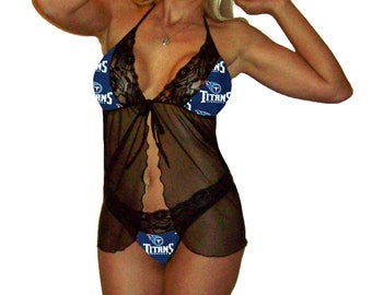 Tennessee Titans Lace Babydoll Negligee Lingerie Yellow Teddy Set - XS Extra Small to L Large - Please READ SIZING Info - Also in White